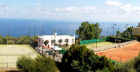 Tennis court and soccer pitch
